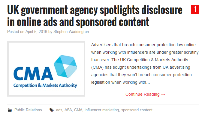 UK government agency spotlights disclosure in online ads and sponsored content www.wadds.co.uk Scott Guthrie