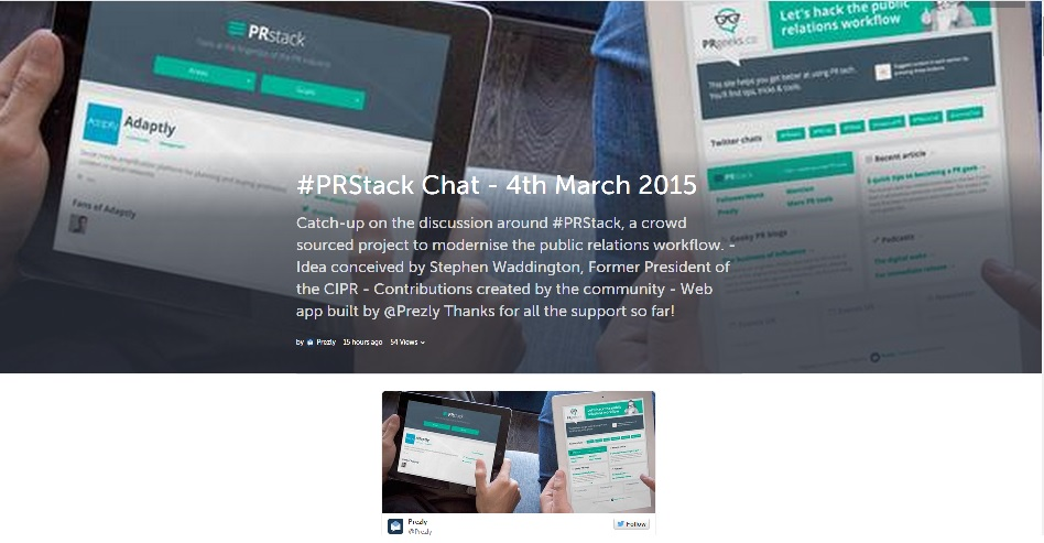 PRstack first Twitter chat now on Storify as database adds
