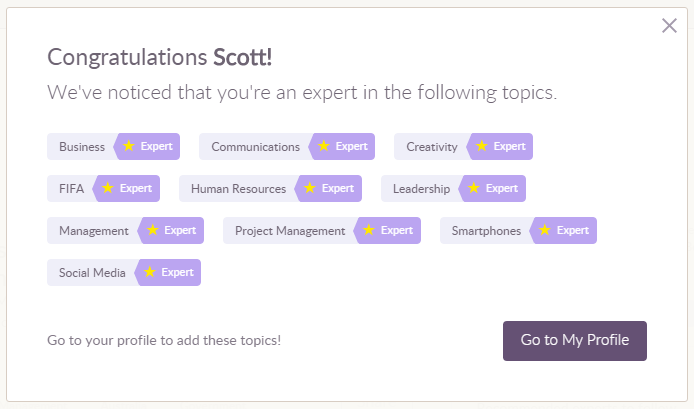 Klout closes: Klout profile screen grab