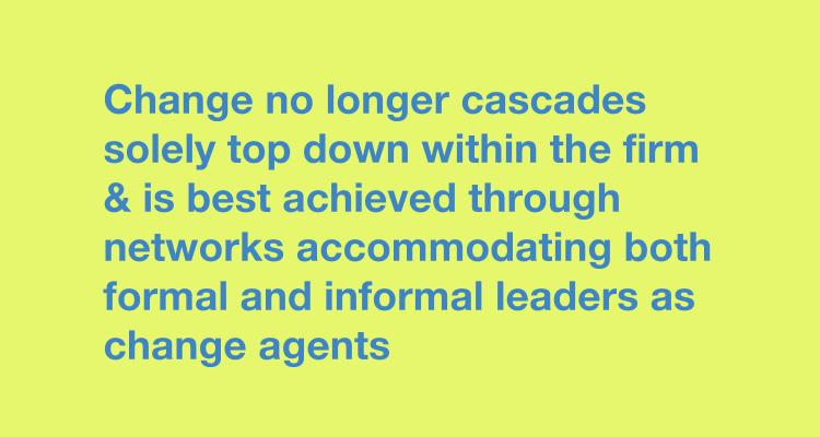 Change no longer cascades solely top down within the firm & is best achieved through networks accommodating both formal and informal leaders as change agents creative teams