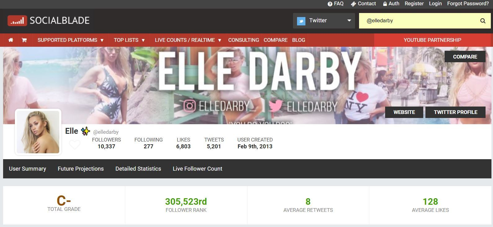 spot fake followers elle darby social blade screenshot